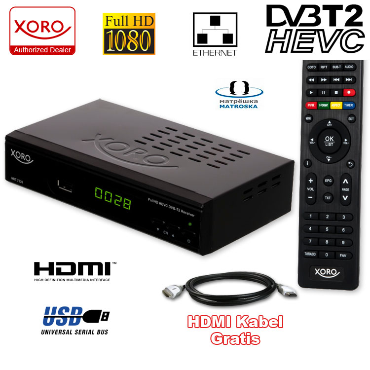 hd dvb t2 receiver xoro hrt 7620 hevc usb hdtv lan dvb t 2 pvr. Black Bedroom Furniture Sets. Home Design Ideas