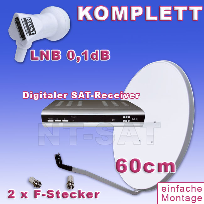 nt sat komplette anlage mit digitaler sat receiver sat. Black Bedroom Furniture Sets. Home Design Ideas