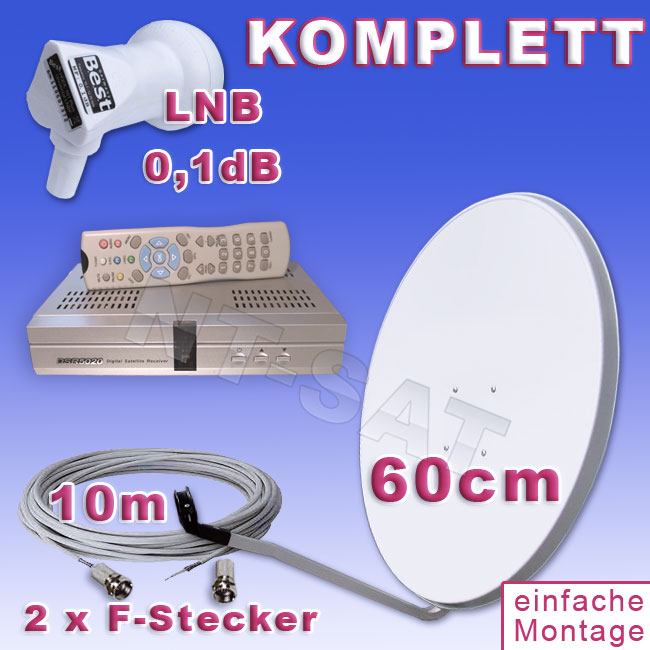 sat anlage dsr 5020 fta antenne 60cm lnb kabel ebay. Black Bedroom Furniture Sets. Home Design Ideas