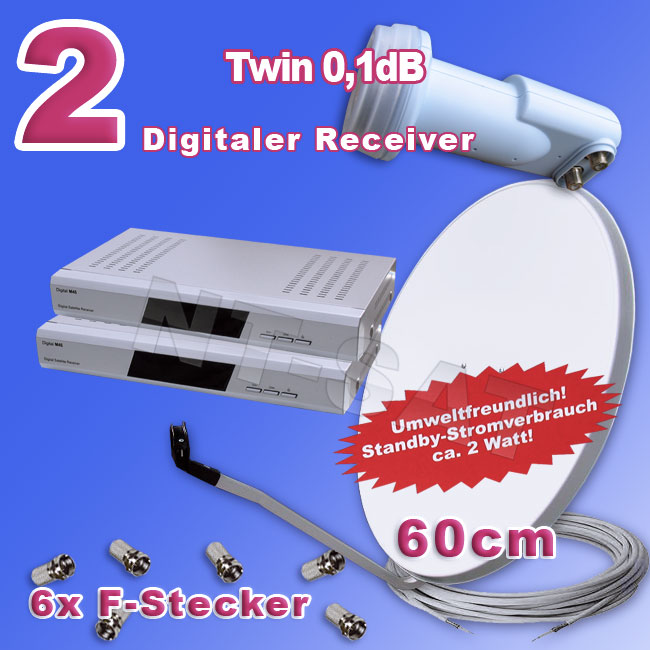 Komplettanlage mit 2 Receiver Digital M45+Head Twin LNB