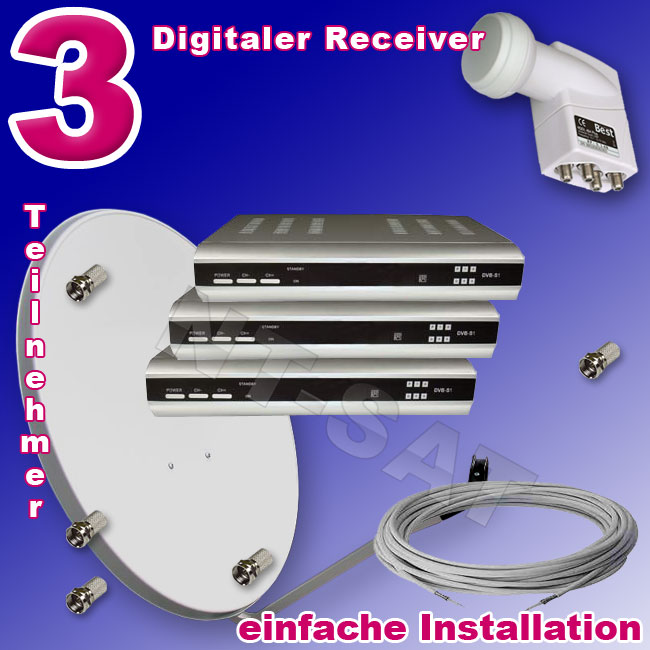 komplettanlage mit 3 digitaler sat receiver. Black Bedroom Furniture Sets. Home Design Ideas