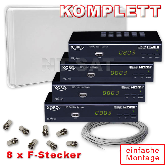 komplett mit selfsat mit quad lnb und 4 digital hd receiver xoro hrs 8525 ebay. Black Bedroom Furniture Sets. Home Design Ideas