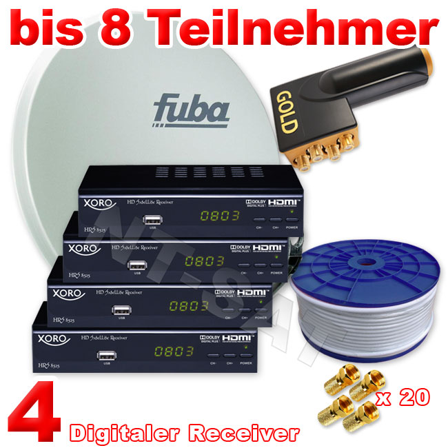 fuba sat anlage 8teilnehmer inkl 4 xoro full hd tv sat receiver lnb quattro ebay. Black Bedroom Furniture Sets. Home Design Ideas