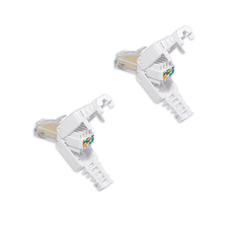 2x cat 5 6 7 rj45 stecker zur werkzeuglose montage mit knickschutz tool less neu ebay. Black Bedroom Furniture Sets. Home Design Ideas