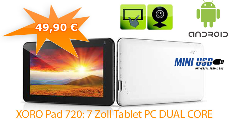 7 Zoll Tablet PC DUAL CORE Android 4,2 HQ-Display Kamera WLAN HD Media-Player