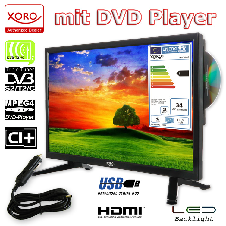xoro camping tv 18 5 zoll fernseher hd ledtv mit dvd hd. Black Bedroom Furniture Sets. Home Design Ideas